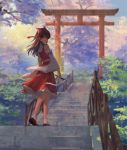 1girl 2019 bow brown_footwear brown_hair dated day detached_sleeves floating_hair frilled_bow frilled_hair_tubes frilled_skirt frills full_body hair_bow hair_tubes hakurei_reimu highres holding jessicaxx long_hair long_sleeves looking_at_viewer medium_skirt outdoors red_bow red_eyes red_ribbon red_shirt red_skirt ribbon ribbon-trimmed_sleeves ribbon_trim shirt skirt sleeveless sleeveless_shirt socks solo stairs standing torii touhou white_legwear white_sleeves wide_sleeves