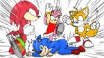 1girl 3boys amy_rose animal bikkuri_moon commentary echidna_(animal) fox furry gloves green_eyes hedgehog highres jojo's_bizarre_adventure jojo_no_kimyou_na_bouken kicking knuckles_the_echidna miles_prower miles_tails_prower parody red_footwear sega shadow_the_hedgehog shoes sneakers sonic sonic_team sonic_the_hedgehog sonic_the_hedgehog_(movie) tails_(sonic) what white_gloves