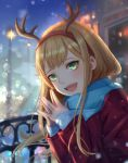 1girl :d antlers blonde_hair blurry blurry_background christmas commentary green_eyes hair_ornament hands_together happy highres jacket lamp long_hair long_sleeves looking_at_viewer night open_mouth original outdoors red_jacket reindeer_antlers scarf sidelocks smile smile_(dcvu7884) snow solo sweater upper_teeth winter_clothes