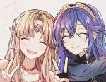 2girls armor artist_request blonde_hair blue_hair blush cape cute dress fingerless_gloves fire_emblem fire_emblem:_kakusei gloves hair_between_eyes intelligent_systems long_hair looking_at_viewer lucina moe multiple_girls nintendo nintendo_ead open_mouth pointy_ears princess_zelda simple_background smile super_smash_bros. super_smash_bros._ultimate the_legend_of_zelda the_legend_of_zelda:_a_link_between_worlds tiara v
