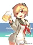 1girl alcohol animal_ears bangs beer beer_mug blonde_hair blush buttons character_name character_profile cup drinking_glass english_text eyebrows_visible_through_hair fake_animal_ears graf_spee_(warship_girls_r) hair_ornament hairclip heart heart-shaped_pupils highres holding holding_cup lino-lin long_sleeves neckerchief open_mouth red_eyes red_neckwear sailor_collar short_hair simple_background smile solo stats symbol-shaped_pupils upper_body warship_girls_r