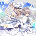 1boy 1girl blue_sky bug butterfly closed_mouth clouds dress elbow_gloves female_my_unit_(fire_emblem_if) fingerless_gloves fire_emblem fire_emblem_heroes fire_emblem_if from_side gloves insect long_hair male_my_unit_(fire_emblem_if) my_unit_(fire_emblem_if) nintendo parted_lips pointy_ears red_eyes shinkanoshin short_hair sky stone twitter_username white_dress white_gloves white_hair