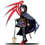 1girl asymmetrical_wings black_cape black_dress black_hair black_legwear black_neckwear cape commentary_request dress full_body gloves highres houjuu_nue kikoka_(mizuumi) looking_at_viewer pointy_ears polearm red_eyes short_hair simple_background smile snake solo standing thigh-highs touhou trident weapon white_background white_gloves wings zettai_ryouiki
