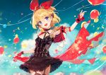 1girl :d ainy77 arm_up balloon bangs black_choker black_dress blonde_hair blue_eyes blue_sky blush breasts character_request choker commentary_request confetti cowboy_shot day dress eyebrows_visible_through_hair fingerless_gloves garter_straps gloves hair_between_eyes hair_ribbon head_tilt highres holding king's_raid looking_at_viewer medium_breasts nail_polish o-ring open_mouth outdoors red_gloves red_nails red_ribbon ribbon short_dress short_hair single_glove sky smile solo standing thighs wrist_cuffs