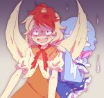 2girls behind_another beige_background black_background blonde_hair blue_headwear blue_kimono collar_grab constricted_pupils dress facing_viewer gradient gradient_background guuchama hat hitodama japanese_clothes kimono mob_cap multiple_girls niwatari_kutaka orange_dress pink_hair red_ribbon ribbon saigyouji_yuyuko scared shaded_face short_hair touhou triangular_headpiece upper_body wings