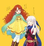 2girls akke bangle belt black_gloves blue_scarf bracelet cape closed_eyes dress elbow_gloves fingerless_gloves fire_emblem fire_emblem:_akatsuki_no_megami fire_emblem_heroes flag gloves holding holding_flag jewelry long_hair micaiah multiple_girls nintendo open_mouth orange_hair red_eyes scarf side_slit silver_hair simple_background sleeveless sleeveless_dress white_legwear yellow_background yune