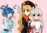 3girls belt blonde_hair blue_dress blue_hair blush breasts brown_eyes chinese_clothes cleavage closed_eyes collar commentary dark_skin dress earlobes ebisu_eika flying_sweatdrops frilled_collar frills hair_ornament hair_rings hair_stick hands_up hat junko_(touhou) kaku_seiga long_hair long_sleeves looking_at_another multiple_girls myouga_teien nail_polish open_mouth orange_hair pink_background polka_dot puffy_short_sleeves puffy_sleeves red_eyes red_nails shawl shirt short_hair short_sleeves simple_background standing sweatdrop tabard touhou upper_body very_long_hair vest wavy_hair white_shirt wide_sleeves