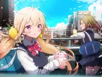 2girls :3 :q ahoge bag black_skirt black_vest blonde_hair blue_sky blush bow bowtie breasts brown_hair building city cityscape closed_mouth clouds collared_shirt commentary_request cup day disposable_cup drinking_straw floating_hair fuku_kitsune_(fuku_fox) green_eyes ground_vehicle hair_ornament hair_scrunchie highres holding holding_cup long_hair long_sleeves looking_at_viewer low_twintails medium_breasts miniskirt multiple_girls nakano_(tokyo) original outdoors overpass pink_eyes pink_neckwear pleated_skirt profile railroad_tracks real_world_location school_bag school_uniform scrunchie shirt sidelocks skirt sky skyscraper smile striped striped_neckwear sweater_vest tokyo_(city) tongue tongue_out train twintails very_long_hair vest white_shirt