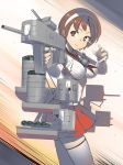 1girl blush breasts brown_eyes brown_hair closed_mouth detached_sleeves eyebrows_visible_through_hair gahaku hairband headband holding holding_weapon kantai_collection large_breasts natori_(kantai_collection) neckerchief pleated_skirt red_skirt rigging sailor_collar school_uniform serafuku short_hair skirt solo speed_lines thigh-highs weapon white_hairband