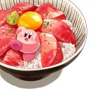 amedama_(akaki_4207) blush bowl egg_yolk food kirby kirby_(series) meat mouth_drool nintendo no_humans open_mouth oversized_food rice shadow