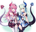 2girls :d bangs bare_shoulders black_gloves black_legwear black_panties blue_eyes blush breasts choker closed_mouth cowboy_shot fang garter_straps gloves green_hair hair_ornament hands_together highres honkai_(series) honkai_impact_3rd horn liliya_olyenyey long_hair looking_at_viewer mismatched_gloves multiple_girls navel open_mouth panties pink_hair pnt_(ddnu4555) revealing_clothes rozaliya_olyenyey siblings small_breasts smile standing stomach tail thick_eyebrows thigh-highs twins underwear white_gloves white_legwear