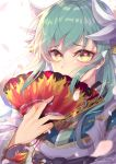 1girl aqua_hair bangs blush breasts commentary_request dragon_horns eyebrows_visible_through_hair face fan fate/grand_order fate_(series) green_hair hair_between_eyes highres holding holding_fan horns japanese_clothes kaer_sasi_dianxia kimono kiyohime_(fate/grand_order) leaf long_hair long_sleeves looking_at_viewer simple_background smile solo white_background white_horns yellow_eyes