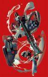ajirogasa bamboo bamboozler_14_(splatoon) gun hat holding holding_gun holding_weapon inkling octoling red_background red_eyes socks splatoon_(series) tentacle_hair towaxa weapon