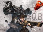 1boy 1girl aiming arm_cannon armor ashe_(overwatch) black_nails bob_(overwatch) bowler_hat character_name clenched_hands cowboy_hat dynamite earrings eyeliner facial_hair fur_trim green_eyes gun hat height_difference hichi highres japanese_armor jewelry kote lever_action lips lipstick long_hair makeup mole_above_mouth mustache nail_polish necktie omnic overwatch red_eyes red_lipstick red_neckwear rifle robot shell_casing shirt short_hair signature sleeves_pushed_up trigger_discipline weapon white_hair white_shirt