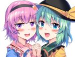 2girls :d bangs black_hairband black_headwear blue_shirt blush commentary_request e.o. eyebrows_visible_through_hair frilled_shirt_collar frilled_sleeves frills green_eyes green_hair hair_between_eyes hair_ornament hairband hand_holding hat hat_ribbon heart heart_hair_ornament highres interlocked_fingers komeiji_koishi komeiji_satori long_sleeves looking_at_viewer multiple_girls open_mouth pink_hair portrait ribbon ribbon-trimmed_collar ribbon_trim shirt short_hair siblings simple_background sisters smile touhou violet_eyes white_background yellow_ribbon yellow_shirt
