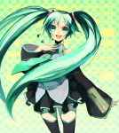 bad_id blue_eyes happy hatsune_miku necktie sciw skirt smile twintails vocaloid
