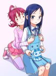 2girls =_= aida_mana blue_eyes blue_hair blush blush_stickers breast_grab dokidoki!_precure hishikawa_rikka kneeling minu multiple_girls pink_hair precure raquel_(dokidoki!_precure) shadow simple_background sitting thigh-highs yuri