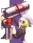 1girl :o arm_up backwards_hat belt belt_buckle bike_shorts black-framed_eyewear black_belt black_footwear black_jacket boots buckle full_body glasses green_hair hat highres hydra_splatling_(splatoon) jacket leg_up long_hair long_sleeves looking_at_viewer multiple_belts octarian octoling open_mouth peaked_cap silhouette single_vertical_stripe sitting sleeves_past_wrists solo splatoon splatoon_(series) splatoon_2 suction_cups suzuhiro tentacle_hair violet_eyes white_headwear