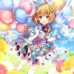 1girl :d absurdres animal_ears balloon bangs blue_bow blue_sky blush bow braid breasts brown_hair center_frills checkered checkered_skirt clouds cloudy_sky clover_hair_ornament commentary_request day dutch_angle eyebrows_behind_hair flower four-leaf_clover_hair_ornament frills gloves grass hair_bow hair_ornament half_gloves highres holding holding_balloon horizon huge_filesize ichiren_namiro long_hair looking_at_viewer open_mouth original outdoors pennant puffy_short_sleeves puffy_sleeves rabbit_ears red_eyes red_flower round_teeth shirt short_sleeves skirt sky small_breasts smile solo sparkle standing string_of_flags sunlight teeth thigh-highs twin_braids upper_teeth white_flower white_gloves white_legwear white_shirt windmill yellow_flower