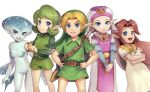 1boy belt blonde_hair blue_eyes blue_skin blush boots brown_hair dress earrings fairy fish_girl gloves gonzarez green_eyes green_hair green_hairband hairband hat highres jewelry kokiri link long_hair malon monster_girl multiple_girls nintendo pointy_ears princess_ruto princess_zelda redhead saria short_hair smile the_legend_of_zelda the_legend_of_zelda:_ocarina_of_time violet_eyes young_link young_zelda younger zora