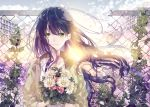 1girl black_hair blue_sky bouquet broken chain-link_fence clouds day fence flower green_eyes holding holding_bouquet jacket long_hair looking_at_viewer original outdoors plant seikai_meguru sky smile solo standing twitter_username upper_body very_long_hair vines yellow_jacket