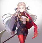 1girl axe blonde_hair blue_eyes cape cravat edelgard_von_hresvelgr_(fire_emblem) fire_emblem fire_emblem:_fuukasetsugetsu fire_emblem_heroes gloves hair_ornament highres intelligent_systems kokouno_oyazi long_hair looking_at_viewer nintendo pantyhose red_cape ribbon simple_background smile solo uniform weapon white_background