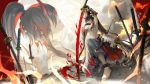 1girl achyue anklet arms_up barefoot black_hair breasts broken broken_chain chain chains high_ponytail highres holding holding_sword holding_weapon horns jewelry long_hair looking_at_viewer midriff multiple_views navel onmyoji outdoors planted_sword planted_weapon ponytail red_eyes skirt solo sword very_long_hair weapon youtouhime