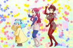 3girls adette_kistler adette_kistler_(cosplay) ahoge ana_medaiyu ana_medaiyu_(cosplay) blue_eyes blue_hair bodysuit boots bow breasts brown_eyes brown_hair commentary cosplay dancing fingerless_gloves gloves hair_ornament high_heels hoshikawa_lily large_breasts minamoto_sakura multiple_girls overman_king_gainer paint_splatter parody polka_dot polka_dot_bow redhead sara_kodama sara_kodama_(cosplay) smile star star_hair_ornament the_monkey ueyama_michirou yellow_eyes yuugiri_(zombie_land_saga) zombie_land_saga