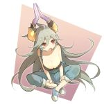 1girl ahoge alternate_costume bare_shoulders blush breasts casual cleavage collarbone commentary_request contemporary draph dutch_angle full_body granblue_fantasy grey_hair hair_between_eyes hair_flaps horns indian_style large_breasts long_hair looking_to_the_side miyashirorin open_mouth overalls red_eyes sitting solo strap_slip thalatha_(granblue_fantasy) very_long_hair