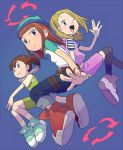 belt blonde_hair breasts brown_hair closed_mouth commentary_request crossover denim digimon digimon_frontier digimon_tamers dress green_eyes hat jeans katou_juri long_hair looking_at_viewer makino_ruki multiple_girls open_mouth orimoto_izumi pants ponytail shirt short_hair smile striped t_k_g wristband