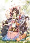 1girl animal animal_ears animal_on_head bangs bell black_hair blunt_bangs blush bow bowtie breasts capelet cat cat_ears cat_girl cat_on_head cat_on_lap cat_tail cleavage commentary commission curly_hair daisy day dress english_commentary flower full_body fur_collar garden grass hair_bow hair_flower hair_ornament hair_stick hieihirai high-waist_skirt highres jingle_bell kitten korean_clothes leaves_in_wind lips long_hair long_skirt looking_at_viewer medium_breasts multicolored_hair on_head original outdoors petting pink_dress pink_hair pleated_skirt see-through sidelocks sitting skirt sleeveless sleeveless_dress smile tail tail_flower tree very_long_hair yarn yarn_ball yellow_eyes