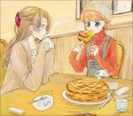 2girls alternate_costume bangs basuko beanie braid chair crown_braid cup drinking_glass eating eyebrows_visible_through_hair female food fork gintama hair_ornament hat holding holding_cup holding_fork indoors kagura_(gintama) long_hair multiple_girls orange_hair overalls pie red_sweater ribbed_sweater short_hair sitting spoon sweater table tokugawa_soyo turtleneck turtleneck_sweater