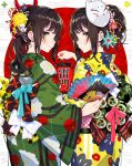 2girls black_bow blush bow brown_hair closed_mouth commentary_request egasumi fan fingernails floral_print flower folding_fan green_eyes green_kimono green_nails grey_background hair_bow hair_flower hair_ornament hairclip highres holding holding_fan holding_lantern japanese_clothes kimono lantern long_hair long_sleeves mika_pikazo multicolored multicolored_nails multiple_girls nail_polish obi original paper_lantern ponytail print_kimono red_background red_flower red_nails sash sidelocks signature smile striped striped_bow translation_request two-tone_background white_bow wide_sleeves yellow_eyes yellow_flower yellow_kimono yellow_nails
