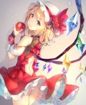 1girl adapted_costume ass back_cutout bangs bare_shoulders blonde_hair commentary_request cowboy_shot crystal deecha detached_sleeves eyebrows_visible_through_hair flandre_scarlet flower food from_behind fruit garter_straps grey_background grin hair_between_eyes hat hat_flower hat_ribbon highres holding holding_food holding_fruit looking_at_viewer looking_back mob_cap panties panty_peek petticoat puffy_short_sleeves puffy_sleeves red_eyes red_flower red_ribbon red_rose red_skirt red_vest ribbon rose short_hair short_sleeves skirt skirt_set smile solo standing thighs touhou underwear vest white_headwear white_panties wings