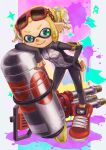 1girl armband black_pants blonde_hair breasts cellphone closed_mouth domino_mask eyewear_on_head full_body green_eyes highres hydra_splatling_(splatoon) inkling legs_apart mask paint_splatter pants phone pointy_ears red-framed_eyewear red_footwear shoes short_hair single_vertical_stripe small_breasts smartphone smile solo splatoon splatoon_(series) splatoon_2 squid standing sunglasses suzuhiro tentacle_hair twintails zipper_pull_tab