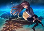 1girl :d bangs black_legwear blue_sailor_collar blue_skirt blush broom broom_riding brown_footwear brown_hair clouds commentary_request eyebrows_visible_through_hair loafers long_hair looking_away looking_to_the_side mimikaki_(men_bow) neckerchief night night_sky open_mouth original outdoors pink_neckwear pleated_skirt red_eyes round_teeth sailor_collar school_uniform serafuku shirt shoes skirt sky smile solo star_(sky) starry_sky teeth thigh-highs upper_teeth very_long_hair white_shirt