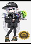 1girl aqua_eyes bangs baseball_cap black_footwear black_headwear black_jacket black_pants blunt_bangs bukichi_(splatoon) closed_mouth commentary cross-laced_footwear domino_mask double_vertical_stripe earrings full_body grey_background hat holding holding_weapon inkling jacket jewelry letterboxed long_hair long_sleeves looking_at_viewer maco_spl mask pants pointy_ears print_hat range_blaster_(splatoon) shoes silver_hair smile sneakers solo sparkle splatoon splatoon_(series) splatoon_2 standing stud_earrings tentacle_hair very_long_hair weapon