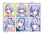 1girl :d ? bangs bare_shoulders beniko_(ymdbnk) black_vest blue_hair blush braid brown_shirt closed_eyes closed_mouth collarbone collared_shirt double_bun eyebrows_visible_through_hair flying_sweatdrops grey_shirt hair_between_eyes hair_over_shoulder hair_ribbon hand_up highres long_hair looking_at_viewer low_twintails open_mouth original puffy_sleeves red_eyes ribbon shirt short_hair side_bun sleeveless smile spoken_question_mark translation_request twin_braids twintails variations vest yellow_ribbon