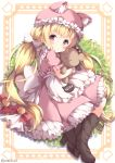 1girl :o animal_hat apron back_bow bangs bell black_footwear blush boots bow cat_hat commentary_request dress frilled_dress frilled_hat frilled_sleeves frills gloves hair_bow hat high_heel_boots high_heels holding holding_stuffed_animal jingle_bell long_hair looking_at_viewer niwasane_(saneatsu03) nyan original paw_gloves paws pink_dress pink_headwear red_bow red_eyes short_hair sidelocks solo stuffed_animal stuffed_toy teddy_bear twitter_username very_long_hair waist_apron white_apron white_bow