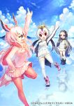 3girls :d :o ^_^ arm_up black_footwear blonde_hair blue_sky boots closed_eyes closed_eyes clouds day drawstring giant_penguin_(kemono_friends) greater_flamingo_(kemono_friends) grey_hair hair_between_eyes head_wings headphones hood hoodie horizon impossible_jacket kemono_friends kemono_friends_3:_planet_tours lens_flare long_hair long_sleeves miniskirt multicolored_hair multiple_girls official_art open_mouth outdoors pantyhose pink_footwear pink_hair pink_scarf pink_skirt pleated_skirt pocket pointing pointing_up red_eyes red_legwear reflection renta_(deja-vu) royal_penguin_(kemono_friends) scarf skirt sky smile standing standing_on_one_leg turtleneck very_long_hair violet_eyes watermark white_hair white_skirt zipper_pull_tab