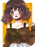 1girl :d akiyama_yukari alternate_hairstyle bangs black_shirt blush casual collarbone commentary eyebrows_visible_through_hair flying_sweatdrops girls_und_panzer hair_ribbon long_sleeves looking_at_viewer low_twintails off-shoulder_shirt off_shoulder open_mouth orange_background outside_border pokoyosi red_ribbon ribbon shirt short_hair skirt sleeves_past_wrists smile solo standing twintails upper_body white_skirt zipper