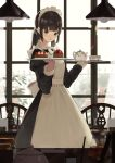 1girl apron black_dress blurry blurry_background blush brown_eyes brown_hair ceiling_light chair commentary_request cup depth_of_field dress food fruit hands_up highres holding holding_tray indoors juliet_sleeves long_hair long_sleeves looking_at_viewer low_twintails maid maid_apron maid_headdress original parted_lips puffy_sleeves shii_(kairi-t-k0317) smile solo steam strawberry table teacup teapot tray twintails white_apron window