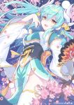 1girl :d absurdres bangs blue_hair blush breasts cherry_blossoms commentary_request devy dragon_horns eyebrows_visible_through_hair fate/grand_order fate_(series) fingernails floating_hair flower green_kimono hair_between_eyes hand_up highres horns japanese_clothes kimono kiyohime_(fate/grand_order) long_hair long_sleeves medium_breasts obi open_mouth petals pink_flower sash smile solo thigh-highs tree_branch twitter_username very_long_hair white_legwear wide_sleeves yellow_eyes