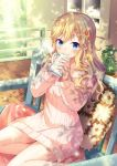 1girl aran_sweater bangs bare_shoulders barefoot bekkourico bench blonde_hair blue_eyes blush closed_mouth cup dated day dress eyebrows_visible_through_hair flower hair_between_eyes hair_flower hair_ornament holding holding_cup idolmaster idolmaster_cinderella_girls long_hair long_sleeves looking_at_viewer mug naked_sweater off-shoulder_sweater off_shoulder ootsuki_yui outdoors pillow pink_sweater plant potted_plant ribbed_sweater sitting smile solo sweater sweater_dress window wooden_floor