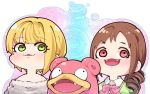 2girls blonde_hair blush bow brown_hair creatures_(company) drill_hair fangs game_freak gen_1_pokemon green_eyes idolmaster idolmaster_cinderella_girls miyamoto_frederica multiple_girls nintendo pink_eyes pokemon short_hair slowpoke smile sweater takatoo_kurosuke