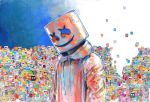 1boy 666haorare666 colorful drawstring head_tilt hood hood_down marshmello mask real_life smile solo upper_body white_hoodie