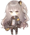 1girl armband bangs black_footwear black_gloves black_jacket black_ribbon blush boots brown_eyes brown_hair brown_legwear chibi closed_mouth commentary_request dress_shirt eyebrows_visible_through_hair fingernails full_body girls_frontline gloves grey_skirt gun h&k_ump45 hair_between_eyes hair_ornament holding holding_gun holding_weapon jacket kotatu_(akaki01aoki00) long_hair long_sleeves looking_at_viewer neck_ribbon object_hug one_side_up open_clothes open_jacket pantyhose pleated_skirt ribbon scar scar_across_eye shirt simple_background skirt solo standing submachine_gun ump45_(girls_frontline) very_long_hair weapon white_background white_shirt
