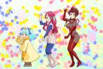 adette_kistler adette_kistler_(cosplay) ahoge ana_medaiyu ana_medaiyu_(cosplay) blue_eyes blue_hair bodysuit boots bow breasts brown_eyes brown_hair cosplay dancing fingerless_gloves gloves hair_ornament high_heels hoshikawa_lily large_breasts minamoto_sakura overman_king_gainer paint_splatter parody polka_dot polka_dot_bow redhead sara_kodama sara_kodama_(cosplay) smile star star_hair_ornament the_monkey ueyama_michirou yellow_eyes yuugiri_(zombie_land_saga) zombie_land_saga