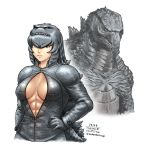 1girl abs arm_at_side armor bangs breasts closed_mouth collared_jacket commentary_request dated eyebrows_visible_through_hair gloves godzilla godzilla_(2014) godzilla_(series) grey_hair hair_between_eyes hair_ornament hairband hand_on_hip high_collar jacket kaijuu kemono_friends lips long_sleeves looking_at_viewer medium_breasts medium_hair monster no_bra open_clothes open_jacket orange_eyes original partially_unzipped personification shoulder_armor sidelocks simple_background solo stomach taikyokuturugi tail toned twitter_username upper_body v-shaped_eyebrows white_background zipper zipper_pull_tab