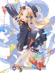 1girl abigail_williams_(fate/grand_order) bangs black_bow black_dress black_headwear blonde_hair blue_eyes blush bow confetti dress fate/grand_order fate_(series) flag forehead full_body hair_bow highres legs long_hair long_sleeves looking_at_viewer open_mouth orange_bow parted_bangs pennant polka_dot polka_dot_bow ribbed_dress sleeves_past_fingers sleeves_past_wrists smile solo stuffed_animal stuffed_toy teddy_bear tentacle thighs white_background white_bloomers zeronics